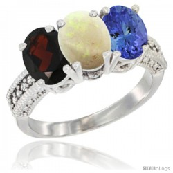 14K White Gold Natural Garnet, Opal & Tanzanite Ring 3-Stone 7x5 mm Oval Diamond Accent