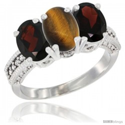 14K White Gold Natural Tiger Eye & Garnet Sides Ring 3-Stone 7x5 mm Oval Diamond Accent