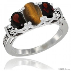 14K White Gold Natural Tiger Eye & Garnet Ring 3-Stone Oval with Diamond Accent