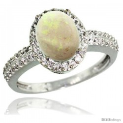 Sterling Silver Diamond Natural Opal Ring Oval Stone 9x7 mm 1.76 ct 1/2 in wide