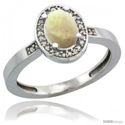 Sterling Silver Diamond Natural Opal Ring 1 ct 7x5 Stone 1/2 in wide