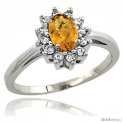 Sterling Silver Natural whisky Quartz Diamond Halo Ring Oval Shape 1.2 Carat 6X4 mm, 1/2 in wide
