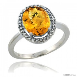 Sterling Silver Diamond Halo Natural whisky Quartz Ring 2.4 carat Oval shape 10X8 mm, 1/2 in (12.5mm) wide