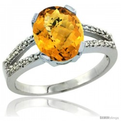 Sterling Silver and Diamond Halo Natural whisky Quartz Ring 2.4 carat Oval shape 10X8 mm, 3/8 in (10mm) wide
