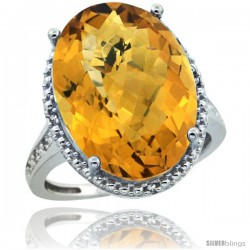 Sterling Silver Diamond Natural whisky Quartz Ring 13.56 ct Large Oval 18x13 mm Stone, 3/4 in wide