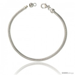 Sterling Silver 3mm Charm Bracelet Bead Compatible Nickel Free