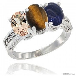 10K White Gold Natural Morganite, Tiger Eye & Lapis Ring 3-Stone Oval 7x5 mm Diamond Accent