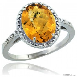 Sterling Silver Diamond Natural whisky Quartz Ring 2.4 ct Oval Stone 10x8 mm, 1/2 in wide -Style Cwg26111