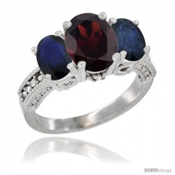 10K White Gold Ladies Natural Garnet Oval 3 Stone Ring with Blue Sapphire Sides Diamond Accent