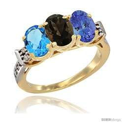 10K Yellow Gold Natural Swiss Blue Topaz, Smoky Topaz & Tanzanite Ring 3-Stone Oval 7x5 mm Diamond Accent
