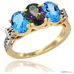 10K Yellow Gold Natural Mystic Topaz & Swiss Blue Topaz Sides Ring 3-Stone Oval 7x5 mm Diamond Accent