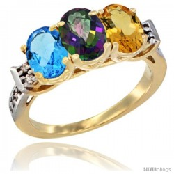 10K Yellow Gold Natural Swiss Blue Topaz, Mystic Topaz & Citrine Ring 3-Stone Oval 7x5 mm Diamond Accent