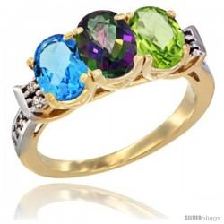 10K Yellow Gold Natural Swiss Blue Topaz, Mystic Topaz & Peridot Ring 3-Stone Oval 7x5 mm Diamond Accent