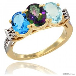 10K Yellow Gold Natural Swiss Blue Topaz, Mystic Topaz & Aquamarine Ring 3-Stone Oval 7x5 mm Diamond Accent