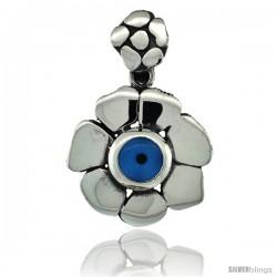 Sterling Silver Flower Shape Blue Color Evil Eye Pendant, 3/4 in wide