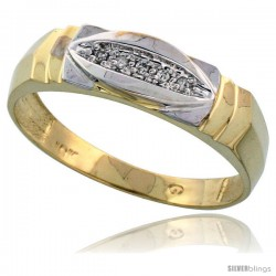 10k Yellow Gold Mens Diamond Wedding Band Ring 0.03 cttw Brilliant Cut, 1/4 in wide -Style 10y021mb