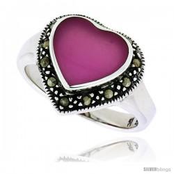 """Sterling Silver Oxidized Heart Ring w/ Purple Resin, 9/16"""" (15 mm) wide"""