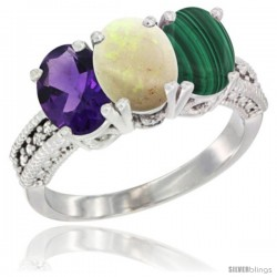 14K White Gold Natural Amethyst, Opal & Malachite Ring 3-Stone 7x5 mm Oval Diamond Accent