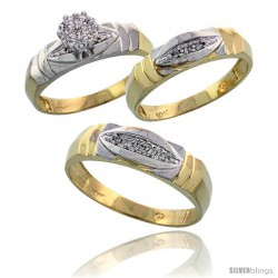 10k Yellow Gold Trio Engagement Wedding Rings Set for Him & Her 3-piece 6 mm & 5 mm wide 0.09 cttw Brilliant Cut