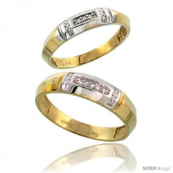 10k Yellow Gold Diamond Engagement Rings Set 2-Piece 0.07 cttw Brilliant Cut, 5/32 in wide -Style 10y022e2
