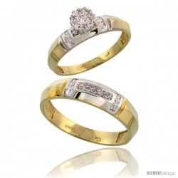 10k Yellow Gold Diamond Engagement Rings 2-Piece Set for Men and Women 0.08 cttw Brilliant Cut, 4mm & 5.5mm wide