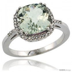Sterling Silver Diamond Natural Green Amethyst Ring Ring 3.05 ct Cushion Cut 9x9 mm, 1/2 in wide