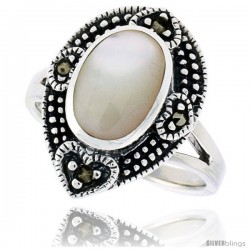 Sterling Silver Pear-shaped Ring, w/ 11 x 8 mm Oval-shaped Mother of Pearl, 3/4 in (18 mm) wide