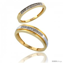14k Gold 2-Piece His (6mm) & Hers (2.5mm) Diamond Wedding Band Set, w/ 0.14 Carat Brilliant Cut Diamonds