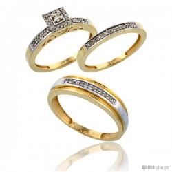 14k Gold 3-Piece Trio His (6mm) & Hers (2.5mm) Diamond Wedding Band Set, w/ 0.33 Carat Brilliant Cut Diamonds