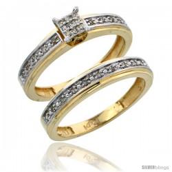 14k Gold 2-Piece Diamond Engagement Ring Set, w/ 0.21 Carat Brilliant Cut Diamonds, 5/32 in. (4mm) wide