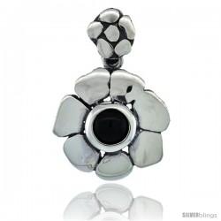 Sterling Silver Flower Pendant, Black Stone, 3/4 in wide