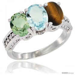 14K White Gold Natural Green Amethyst, Aquamarine & Tiger Eye Ring 3-Stone 7x5 mm Oval Diamond Accent