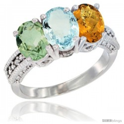 14K White Gold Natural Green Amethyst, Aquamarine & Whisky Quartz Ring 3-Stone 7x5 mm Oval Diamond Accent