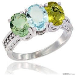 14K White Gold Natural Green Amethyst, Aquamarine & Lemon Quartz Ring 3-Stone 7x5 mm Oval Diamond Accent