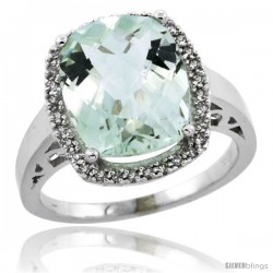 14k White Gold Diamond Green-Amethyst Ring 5.17 ct Checkerboard Cut Cushion 12x10 mm, 1/2 in wide