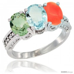 14K White Gold Natural Green Amethyst, Aquamarine & Coral Ring 3-Stone 7x5 mm Oval Diamond Accent