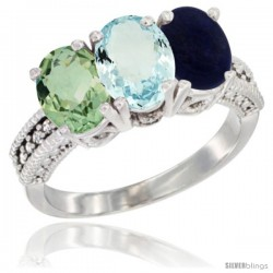 14K White Gold Natural Green Amethyst, Aquamarine & Lapis Ring 3-Stone 7x5 mm Oval Diamond Accent