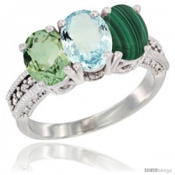 14K White Gold Natural Green Amethyst, Aquamarine & Malachite Ring 3-Stone 7x5 mm Oval Diamond Accent