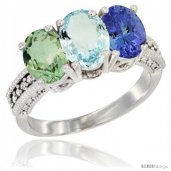 14K White Gold Natural Green Amethyst, Aquamarine & Tanzanite Ring 3-Stone 7x5 mm Oval Diamond Accent