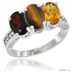 14K White Gold Natural Garnet, Tiger Eye & Whisky Quartz Ring 3-Stone 7x5 mm Oval Diamond Accent