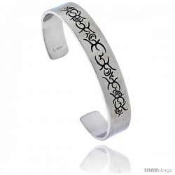 Stainless Steel Cuff Bangle Bracelet with Tribal Design, 8 in long