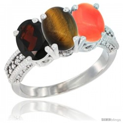 14K White Gold Natural Garnet, Tiger Eye & Coral Ring 3-Stone 7x5 mm Oval Diamond Accent