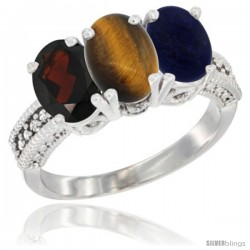 14K White Gold Natural Garnet, Tiger Eye & Lapis Ring 3-Stone 7x5 mm Oval Diamond Accent