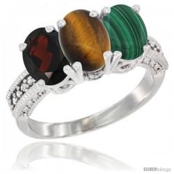 14K White Gold Natural Garnet, Tiger Eye & Malachite Ring 3-Stone 7x5 mm Oval Diamond Accent