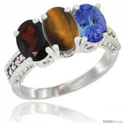 14K White Gold Natural Garnet, Tiger Eye & Tanzanite Ring 3-Stone 7x5 mm Oval Diamond Accent