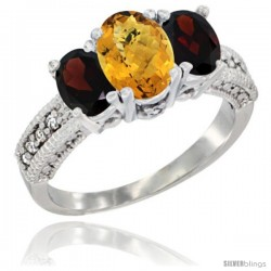 14k White Gold Ladies Oval Natural Whisky Quartz 3-Stone Ring with Garnet Sides Diamond Accent