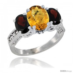 14K White Gold Ladies 3-Stone Oval Natural Whisky Quartz Ring with Garnet Sides Diamond Accent