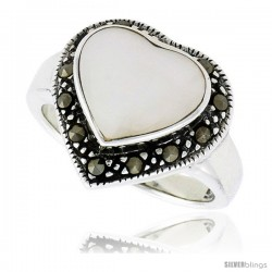 "Sterling Silver Oxidized Heart Ring w/ Mother of Pearl, 9/16"" (15 mm) wide"