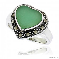 "Sterling Silver Oxidized Heart Ring w/ Green Resin, 9/16"" (15 mm) wide"