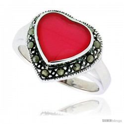 "Sterling Silver Oxidized Heart Ring w/ Red Resin, 9/16"" (15 mm) wide"